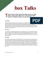 Tool Box Talks