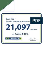 Concept2 2012 August 05 Half Marathon Certificate
