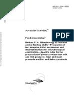 As 5013.11.4-2006 Food Microbiology Microbiology of Food and Animal Feeding Stuffs - Preparation of Test Samp