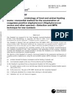 As 5013.12.3-2004 Food Microbiology - Microbiology of Food and Animal Feeding Stuffs - Horizontal Method For