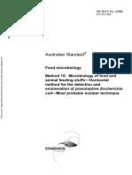 As 5013.15-2006 Food Microbiology Microbiology of Food and Animal Feeding Stuffs - Horizontal Method for The