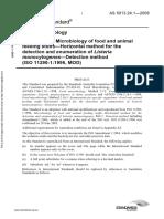As 5013.24.1-2009 Food Microbiology Microbiology of Food and Animal Feeding Stuffs - Horizontal Method for Th
