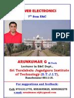No Po-0 1 Power Electronics (2001) Chapter 1 Notes by Arunkumar G, Lecturer, STJIT, Ranebennur- 1st Internals