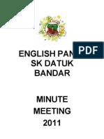 Minit Mesyuarat Panitia Bahasa Inggeris