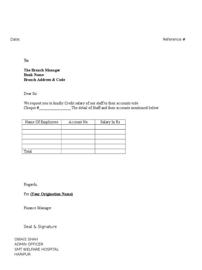 Letter for salaries transfer to bank spiritdancerdesigns Image collections