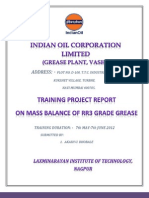PROJECT REPORT ON MASS BALANCE OF RR3 GRADE OF GREASE