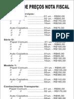 Preços notas fiscais