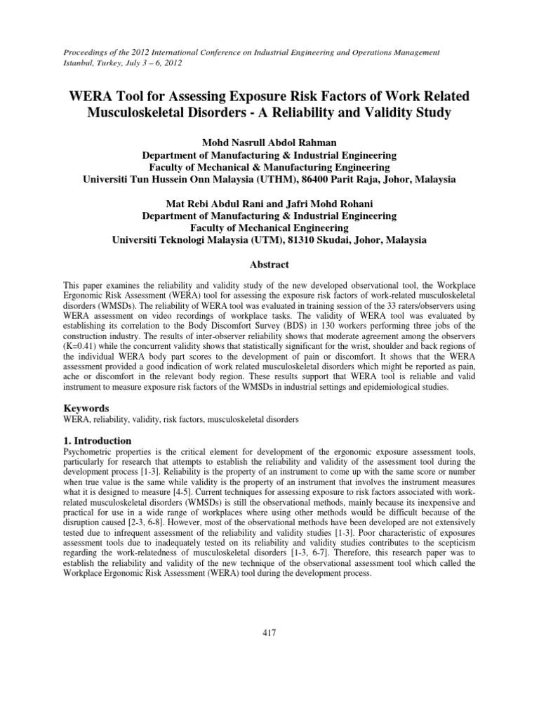 103 Human Factors And Ergonomics Validity Statistics