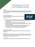 Proposta Di Progetto Per Il Corso Di Electronics for Embedded Systems