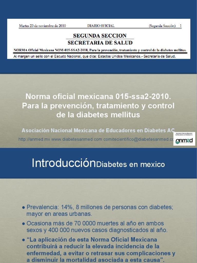 nom para la prevención tratamiento y control de la diabetes mellitus