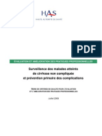 Surveillance Des Cirrhoses Non Compliquees - Criteres de Qualite