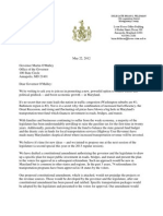 "Sen. Jim Rosapepe & Del. Brian Feldman Letter to Gov. O'Malley on ""End the Gridlock"""