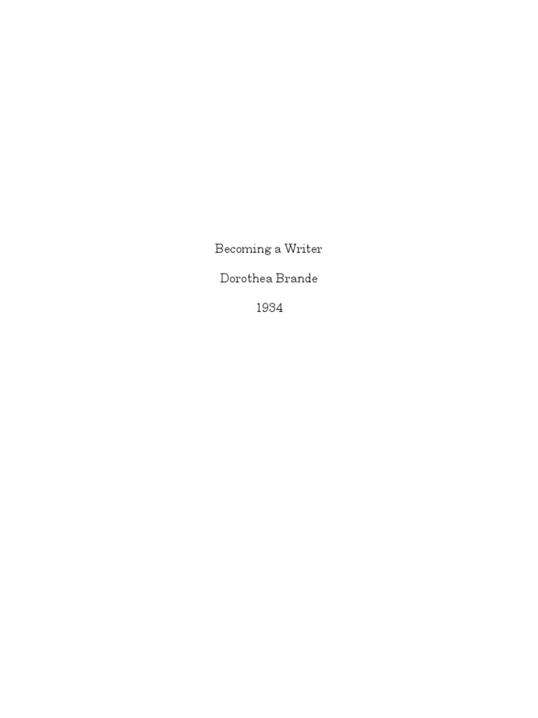 Dorothea Brande Becoming A Writer Pdf