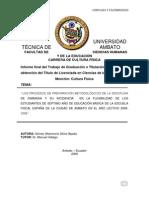 PROCESOS DE PREPARACIÓN METODOLÓGICOS DE LA DISCIPLINA DE GIMNASIA Y SU INCIDENCIA