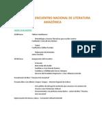 PROGRAMA II ENCUENTRO NACIONAL DE LITERATURA AMAZÓNICA