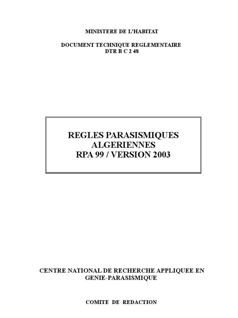 le reglement parasismique algerien 99 version 2003