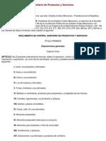REGLAMENTO de Control Sanitario de Productos y Servicios