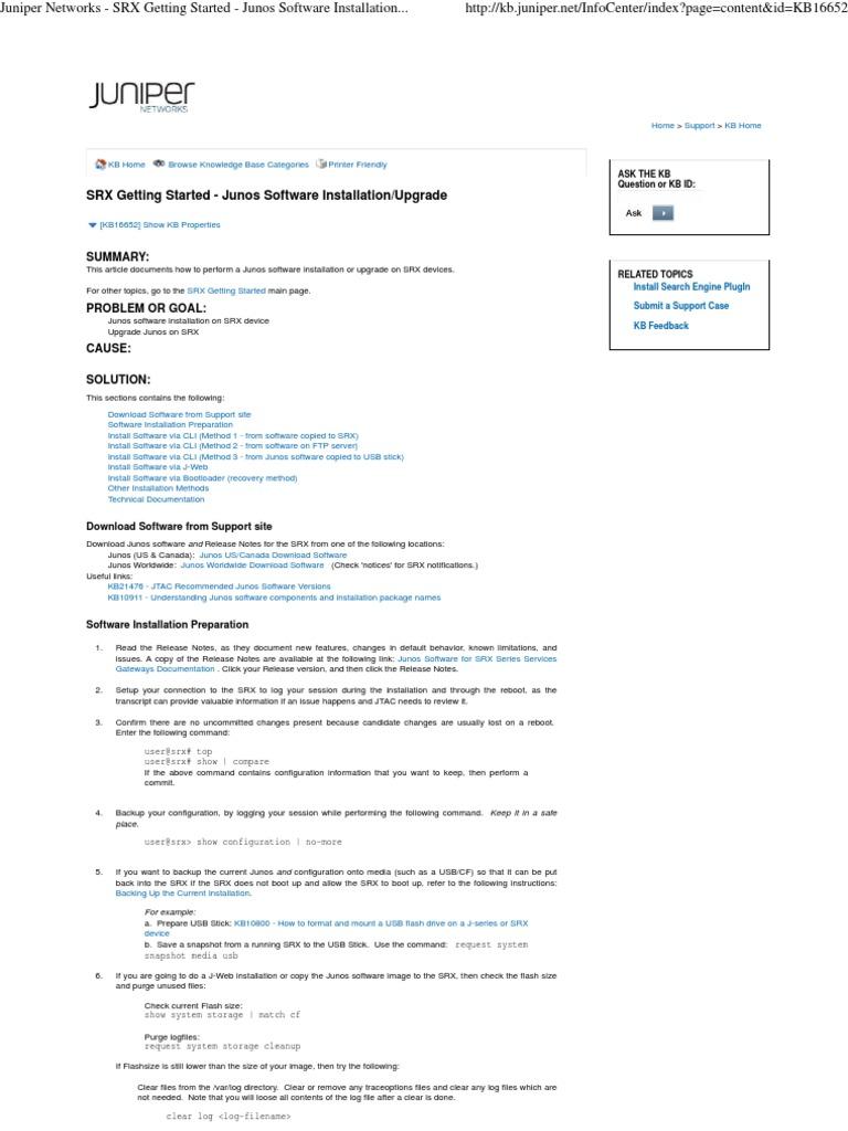 Juniper Networks - SRX Getting Started - Junos Software