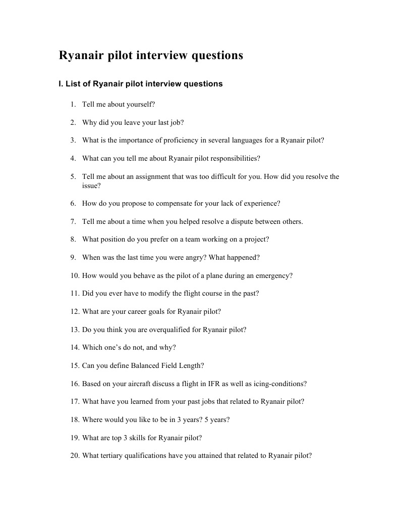 ryanair pilot interview questions