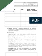 P - 001 Procedimiento Para la Calibracion de Balanzas y Cálculo de Incertidumbre
