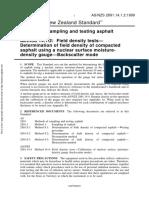 As NZS 2891.14.1.2-1999 Methods of Sampling and Testing Asphalt Field Density Tests - Determination of Field