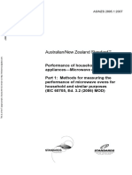 As NZS 2895.1-2007 Performance of Household Electrical Appliances - Microwave Ovens Methods for Measuring The