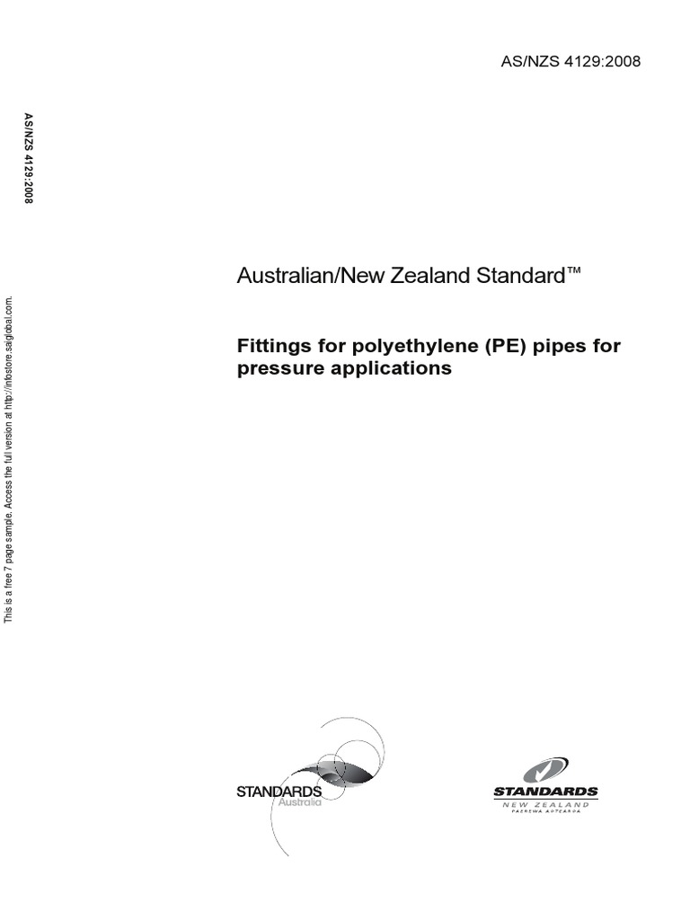 As NZS 4129-2008 Fittings for Polyethylene (PE) Pipes for