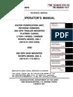US ARMY US MARINE CORPS TM 10-4610-215-10 TM 08580A-10/1 TECHNICAL MANUAL OPERATORS MANUAL,  WATER PURIFICATION UNIT, REVERSE OSMOSIS, 600 GPH TRAILER MOUNTED FLATBED CARGO, 5 TON 4 WHEEL TANDEM ROWPU MODEL 600-1 (4610-01-093-2380) AND 600 GPH SKID MOUNTED ROWPU MODEL 600-3 (4610-01-113-8651)