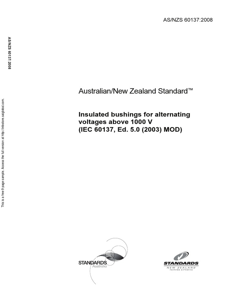 As NZS 60137-2008 Insulated Bushings for Alternating Voltages Above 1000 v ( IEC 60137 Ed. 5.0 (2003) MOD) | Insulator (Electricity) | Transformer