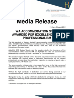 AHA WA Media Release 2012 Accommodation Industry Awards