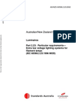 As NZS 60598.2.23-2002 Luminaires Particular Requirements - Extra Low Voltage Lighting Systems for Filament l