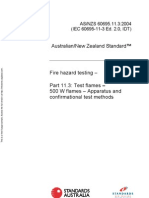 As NZS 60695.11.3-2004 Fire Hazard Testing Test Flames - 500 W Flames - Apparatus and Confirmational Test Met