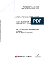 As NZS 60745.2.20-2003 Hand-Held Motor-operated Electric Tools - Safety - Particular Requirements for Band Sa