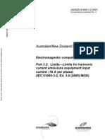 As NZS 61000.3.2-2007 Electromagnetic Compatibility (EMC) Limits - Limits for Harmonic Current Emissions (Equ