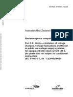 As NZS 61000.3.3-2006 Electromagnetic Compatibility (EMC) Limits - Limitation of Voltage Changes Voltage Fluc