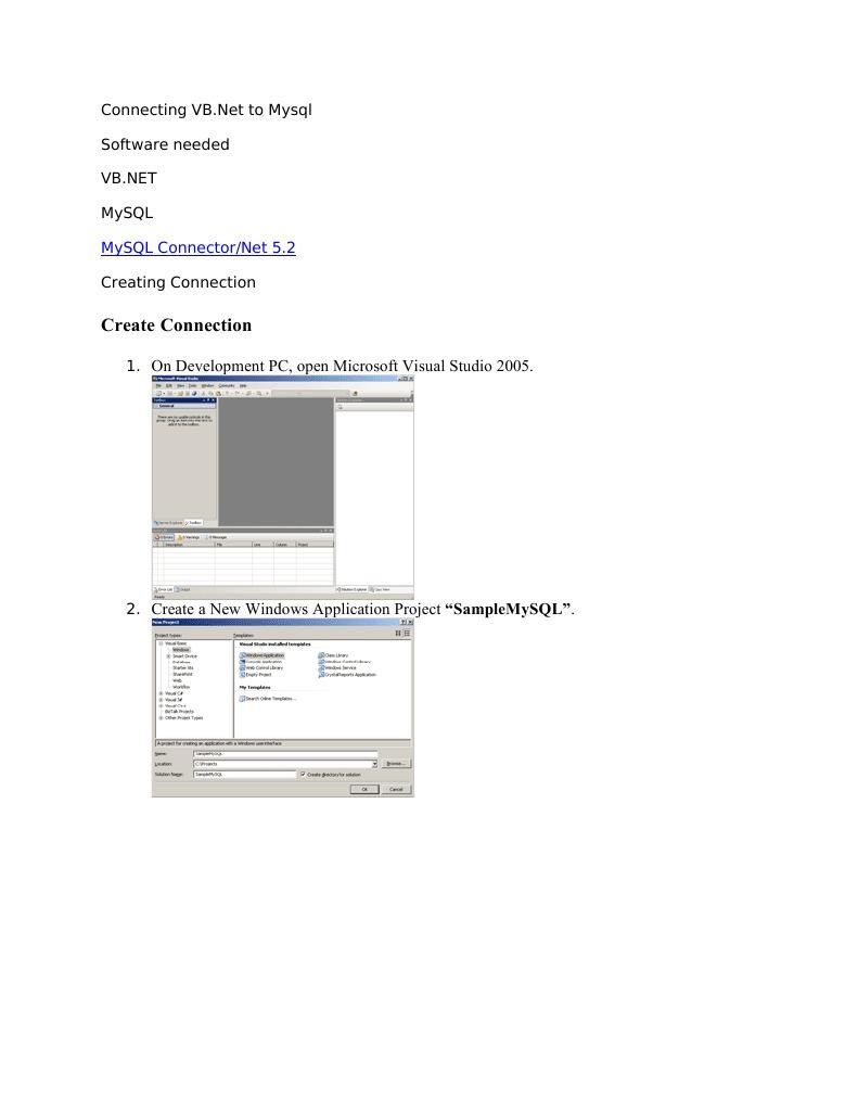 Connecting VB net to Mysql | Library (Computing) | My Sql