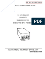 TB-9-2920-225-34-1 DEPARTMENT OF THE ARMY TECHNICAL BULLETIN, 100 AMP REGULATOR (SOLID STATE) NSN 2920-00900-7933, CHECKOUT AND REPAIR PROCEDURES, HEADQUARTERS, DEPARTMENT OF THE ARMY 10 NOVEMBER 1981