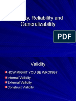 Thursday Validity, Reliability and Generalizability