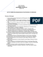 List of Completed Researches in the Province of Sorsogon