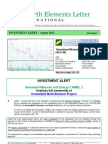 Rare Earth Elements Letter - INVESTMENT ALERT – August 2012