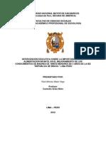"""INTERVENCIÓN EDUCATIVA SOBRE LA IMPORTANCIA DE LA ALIMENTACION INFANTIL EN EL MEJORAMIENTO DE LOS CONOCIMIENTOS DE MADRES DE  NIÑOS MENORES DE 5 AÑOS DE LA IEE """"REPÚBLICA DE BRASIL"""" LIMA-PERÚ"""