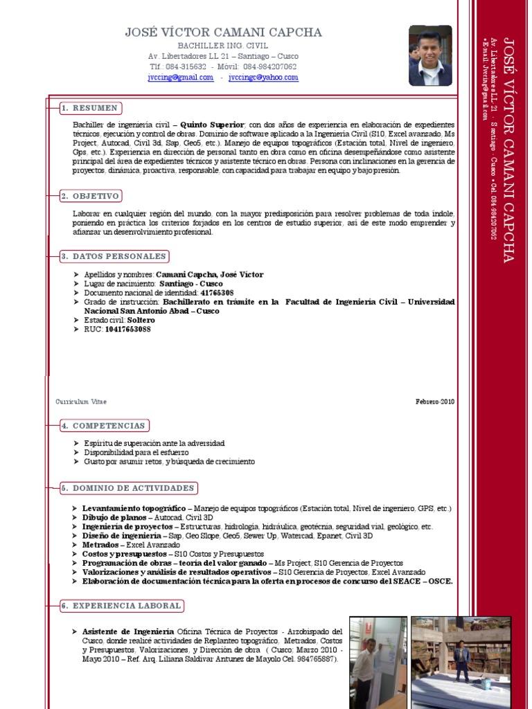 Lujo Muestra De Curriculum Vitae Para Ingeniero Civil Imágenes ...