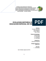 Evolucion de La Educacion Especial Mundial y en Venezuela