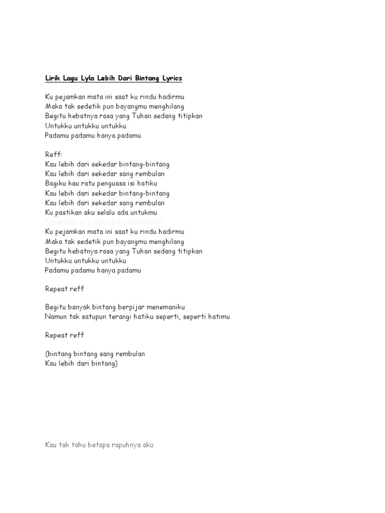 Lirik Lagu Lyla Lebih Dari Bintang Lyrics Ku Pejamkan Mata Ini Saat Ku Rindu Hadirmu Maka Tak
