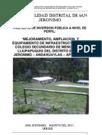 Mejoramiento, Amplaicion y Equipamiento de Infraestructura Del Colegio Secundario de Menores de Lliupapuquio