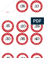 CIRCLE POLKA DOT Numbers by 5 for Clock Red