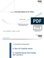 Samsung Relative Evaluation Report on S1, iPhone