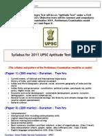 CSAT Syllabus for UPSC Prelims 2011