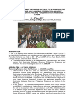 Report of the 10 Th Meeting on the National Focal Point for the Asean Cocoa Club