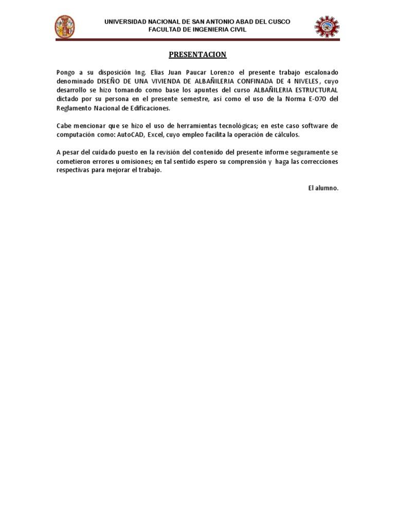 DISEÑO DE UNA VIVIENDA DE ALBAÑILERIA CONFINADA - photo#40